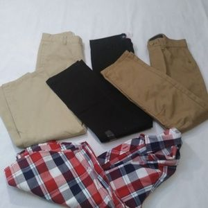 Boys Khakis Black label Arizona Shirt Lot 4 Size 8